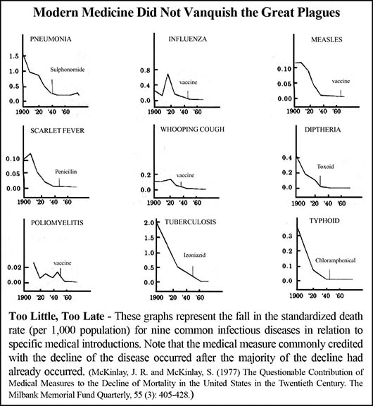Charts prove vaccines and other medical interventions did not cure plaques.